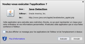 Message d'avertissement de Java qui est contourné par certaines attaques de plateformes d'exploit actuellement.